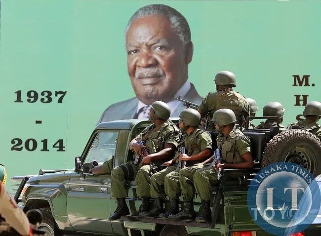 President Sata body Guards arrive at natioanl Heroes Stadium 0886