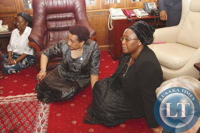 SADC Executive Secretary Stergomena L. Tax during her visit to First Lady Dr Christine Kaseba at State House on November 10,2014 -Picture by THOMAS NSAMA