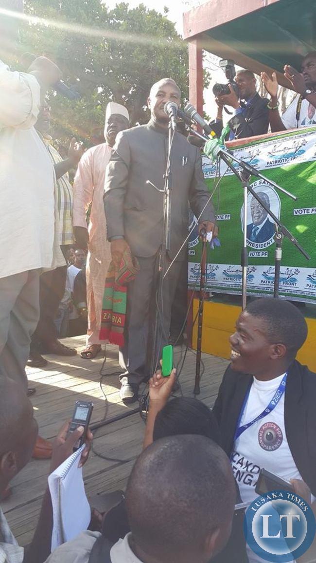 Former Vice President Lupando Mwape at the Edgar Lungu campaign