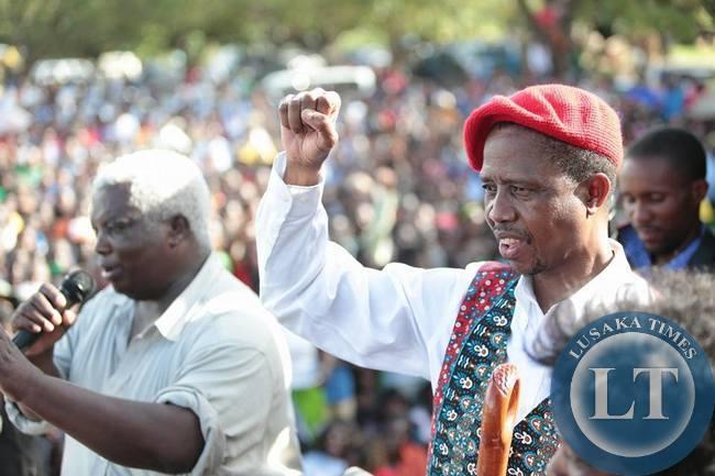 Edgar Lungu at the Mongu  rally