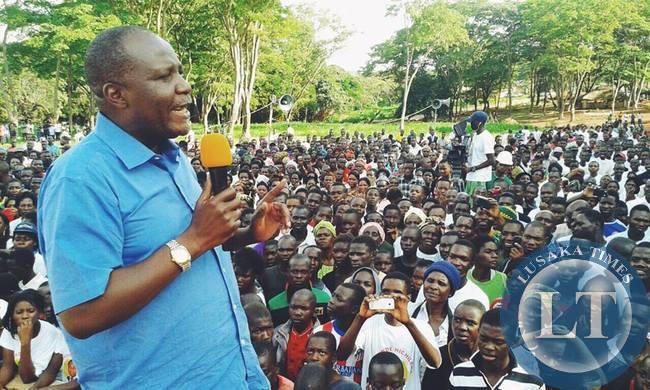 Felix Mutati addressing a crowd in kasama