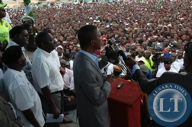 Edgar Lungu Addressing the Kabwe rally