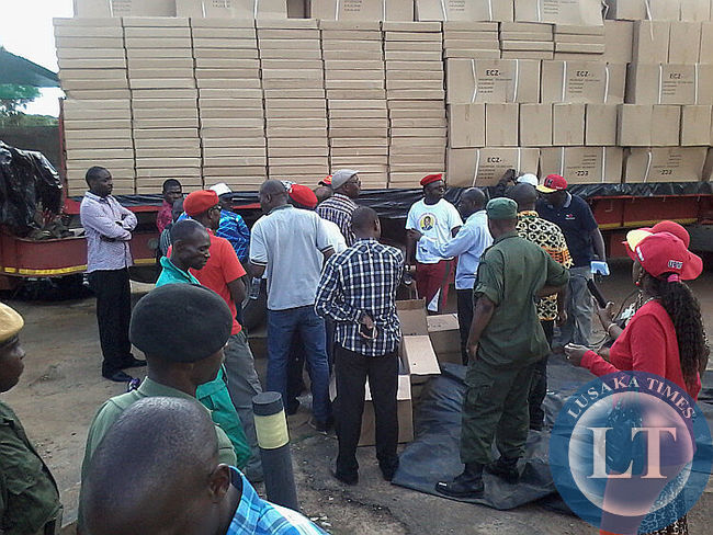 Boxes being offloaded for verification
