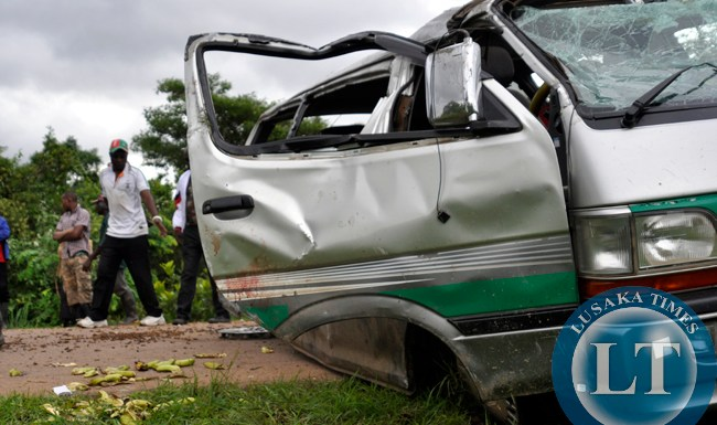 A private minibus in which six people died following a accident that overturned several times after a tyre burst in Nyimba.