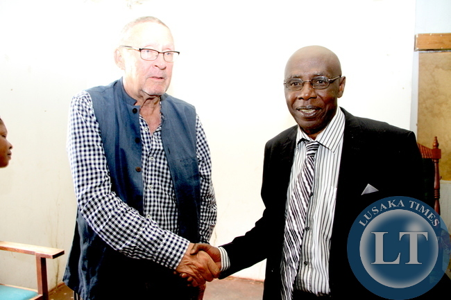 Paramount Chief Chitimukulu with acting President Dr Guy Scott when he paid a courtesy call on him at his Mungwi palace in Kasama