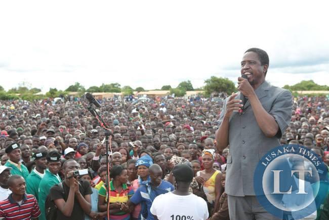 Edgar Lungu addressing the crowd in Petauke