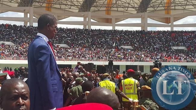 President Edgar Lungu at the Heroes Stadium