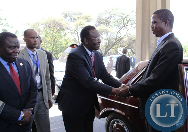 President Edgar Lungu is welcomed by Health Minister Dr Joseph Kasonde on arrival at Hilton Hotel in  Addis Ababa,Ethiopia.