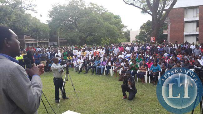 Students at Ridgeway campus listen to UPNd president Hakainde Hichilema