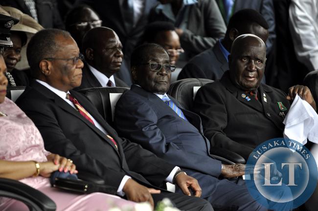 Hifikepunye Pohamba (l), Robert Mugabe (c) and Dr Kenneth Kaunda at Edgar Lungu's innauguration