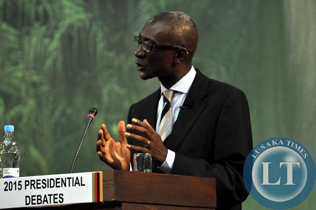 NAREP's Elias Chipimo makes a presentation during the presidential debate