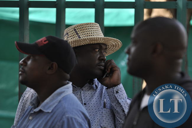PF Lusaka province chairman Kennedy Kamba captured on a mobile phone at C ity Library Polling centre in Lusaka