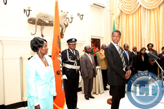 President Edgar Chagwa Lungu with Vice-Presidentr Inonge Wina  during the swearing-in-ceremony of Southern Province minister Nathaniel Mubukwanu, Zambia's High Commissioner to Namibia Sylvia Chalikosa at State House in Lusaka on January 28,2015 -Picture by THOMAS NSAMA