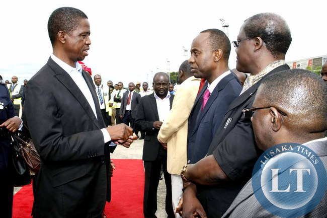 President Edgar Lungu with Lusaka Mayor Mulenga Sata and Justice minister Ngosa Simbyakula  at Kenneth Kaunda International Airport shortly before departure to Addis Ababa, Ethiopia for the African Union Summit on January 29,2015 -Picture by THOMAS NSAMA