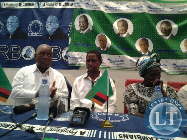 Patriotic Front candidate,Edgar Lungu,former republican president Rupiah Banda and PF National Chairperson Inonge Wina during a media briefing in Chipata