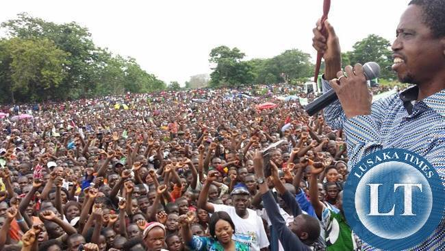 PF President Edgar Lungu addresses a mammoth Rally in Samfya this morning