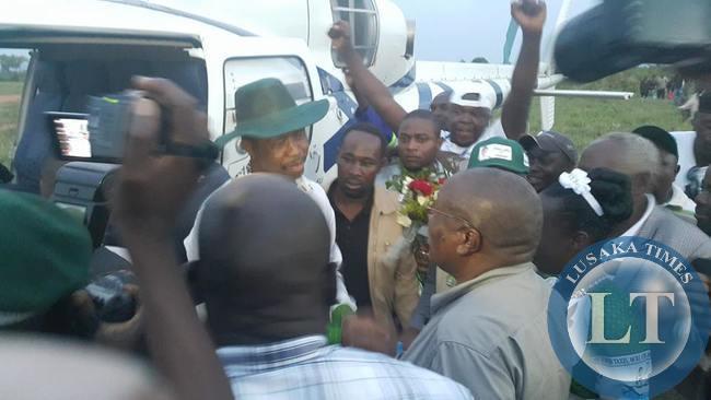 Edgar Lungu being welcome in Isoka by Mwansa Kapeya