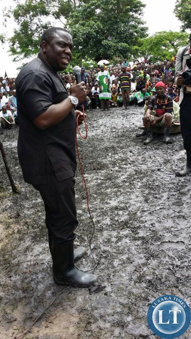Hon Kalaba seen here wearing gum boots to take time to speak to people in Samfya (Lunga, Bangweulu and Chifunabuli)