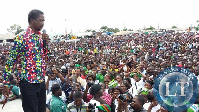 PF President Edgar Lungu addressing the Kapiri Rally