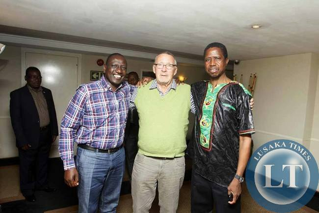 Guy Scott pose for a picture with Edgar Lungu and Deputy President of Kenya Willian Ruto