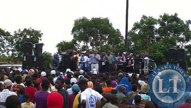 Nevers Mumba addressing the crowd in Kabwe