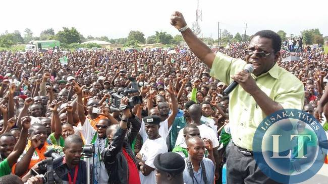 PF MCC Samuel Mukupa addressing the rally in Solwezi