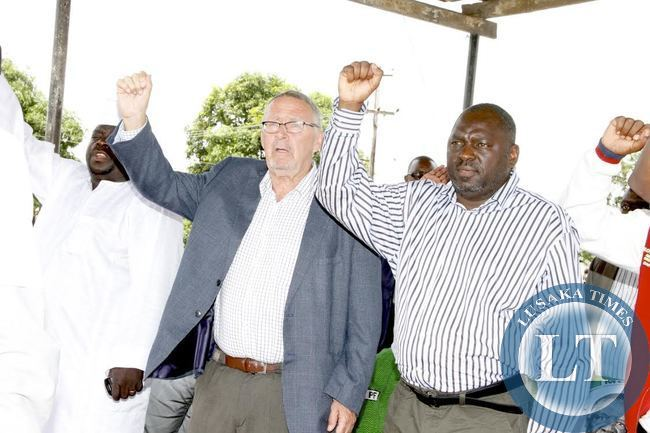 Ating President Dr  Guy Scott  with PF Secretary General Davies Chama during a rally for PF Presidential Candidate Edgar Lungu  at Chiwepala in Chingola