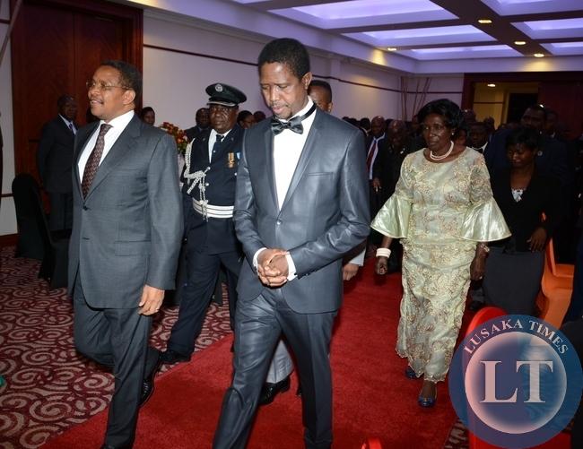 President Edgar Lungu, Tanzanian President Jakaya Kikwete and vice President Inonge Wine arrivals at Pamodzi Hotel during the state banquet at Pamodzi