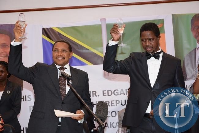 President Edgar Lungu Toast with Tanzanian President Jakaya Kikwete during the state banquet at Pamodzi