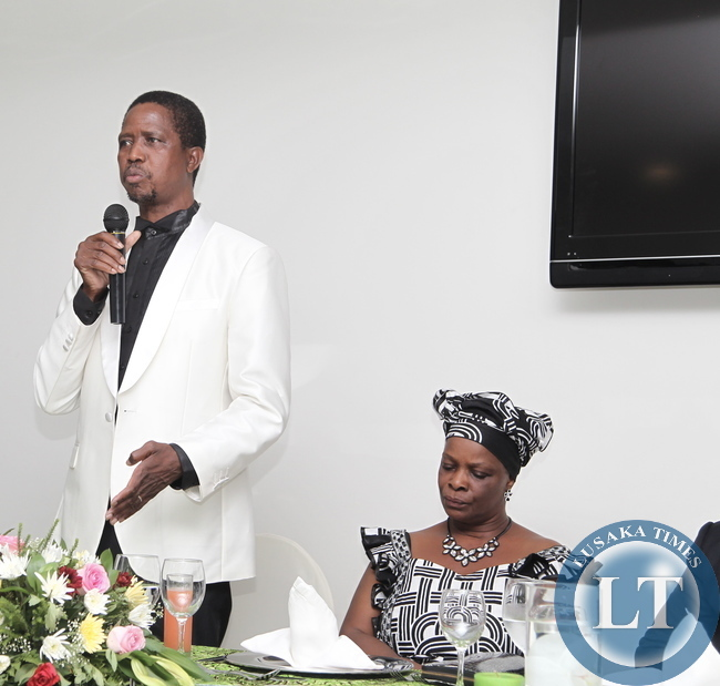 President Edgar Lungu flanked by his wife first lady Ester Lungu addressing the Zambian Living in Angola yesterday. Picture by ROYD SIBAJENE/ZANIS