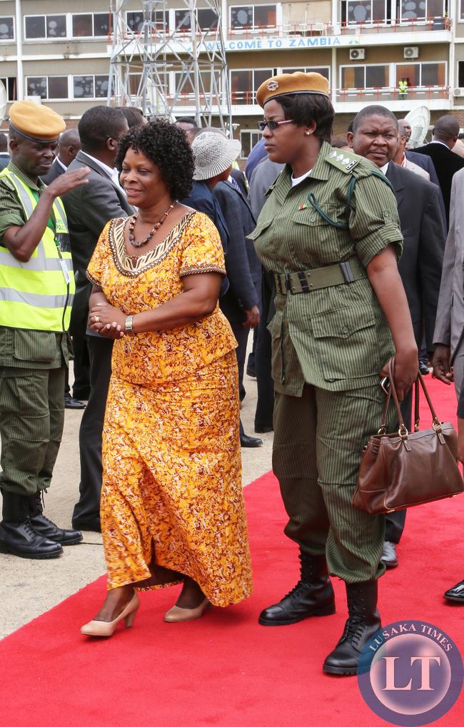 First Lady Mrs Ester Lungu at KK internatioanal airport she accompanied her Husdand President Lungu/Picture  by EDDIE MWANALEZA/STATEHOUSE.