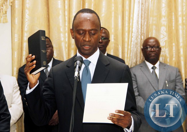 Newly appointed State House Deputy minister Mulenga Sata taking Oath during the Swearing-In-Ceremony at State House on February 3,2015 -Picture by THOMAS NSAMA