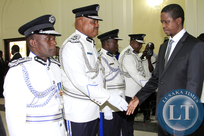 President Edgar Lungu during the Swearing in Ceremony of Mr Malcom Mutale Mulenga Deputy IG, Stanslous Agrippa Mukuka Chewe as Commissioner of Police Northern Province,Mr Hudson Namachila Commissioner of Police Eastern Province,Mr Auxensio Daka Commisione