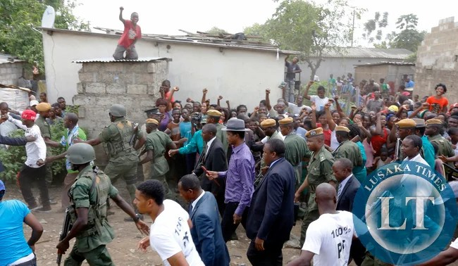 President  Mr Edgah Lungu Walking in Misisi compound after Commissioning Misisi Police Post. PICTURE  BY EDDIE MWANALEZA/STATEHOUSE 21-02-2015.