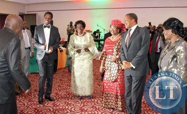 First President of Zambia  Kenneth Kaunda,President Edgar Lungu and President Dr Kitwete and First Ladies Madam Esther Lungu and Madam and Vice President Mrs Inonge Wina during the Gala dinner at pamodzi hotel _ Picture  BY Eddie Mwanaleza.