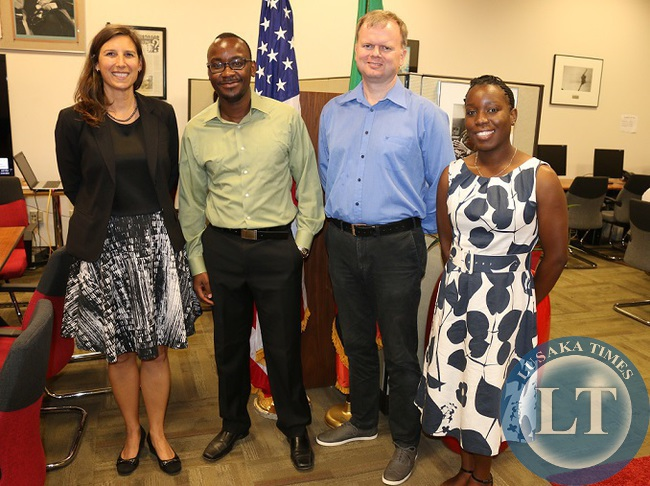 (Picture Credit L/R: U.S Embassy Zambia Public Affairs Officer, Janet Deutsch with Mawano Kambeu, Lars Gundersen and Tamika Gondwe from Dot Com Zambia)