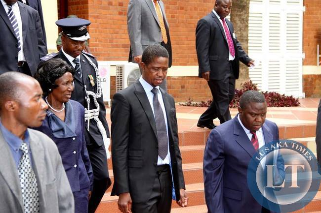 President Edgar Chagwa Lungu with Vice-President Inonge Wina and foreign Affairs minister Harry Kalaba arrives at State House for the Annual greetings ceremony for members of the Diplomatic Corps on February 11,2015 -Picture by THOMAS NSAMA