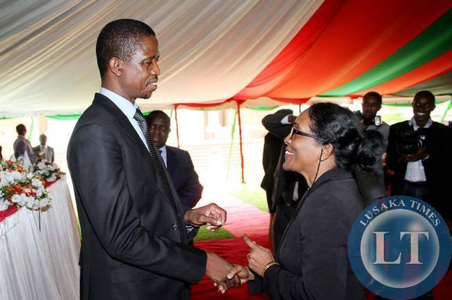 World Bank Country Director Kundhavi Kadiresan talks to President Edgar Lungu during the Annual greetings ceremony by the President for members of the Diplomatic Corps Accredited to Zambia at State House on February 11,2015 -Picture by THOMAS NSAMA