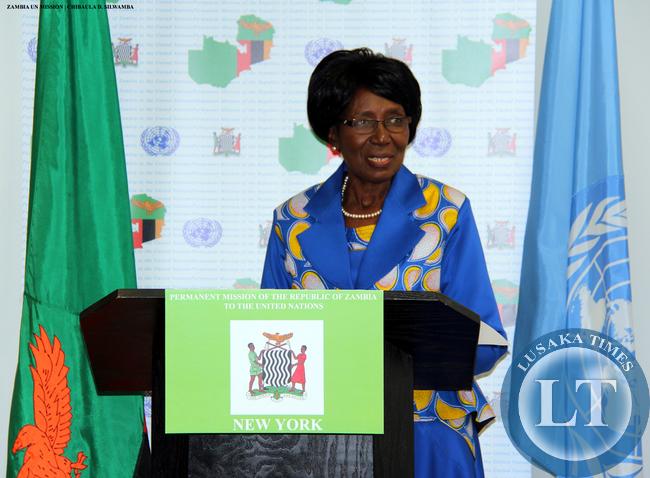 Vice-President Mrs Inonge Wina addresses Zambians resident in USA at Zambian Mission to the UN in New York on 11 March, 2015. PHOTO   CHIBAULA D. SILWAMBA   ZAMBIA UN MISSION