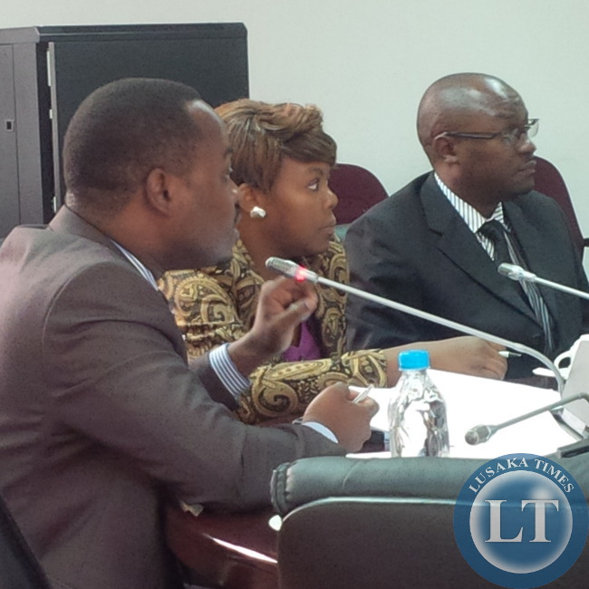 CUTS National Coordinator Simon Ngona stresses a point  during a parliamentary hearing on the ZICTA towers