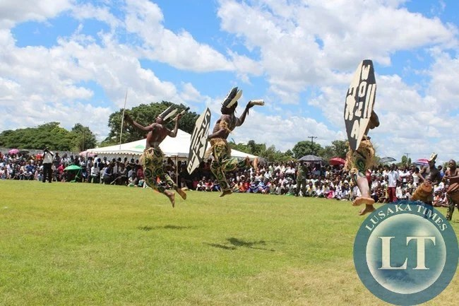 ST. Mark's Secondary School culture group in action during the youth day celebrations at Choma stadium