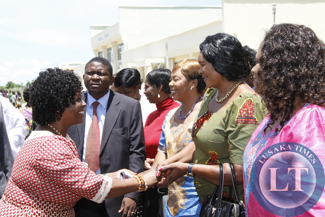 First Lady Esther Lungu greets Ministers spouses and Friends of the First Lady upon her arrival at Mansa Airport   for the Outreach Programme for People with Special Needs in Mansa on February 27,2014 -Picture by THOMAS NSAMA