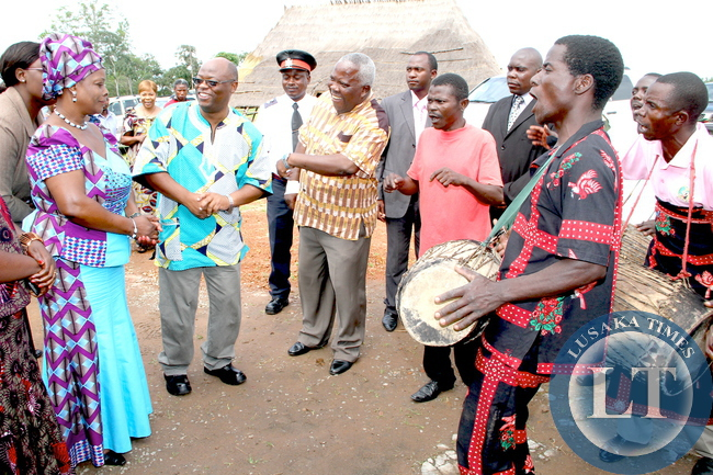 First Lady Esther Lungu when she paid a Courtesy call on Paramount Chief Chitimukulu at his palace in Mungwi, Northern Province. This was during First Lady's Outreach Programme for People with Special Needs
