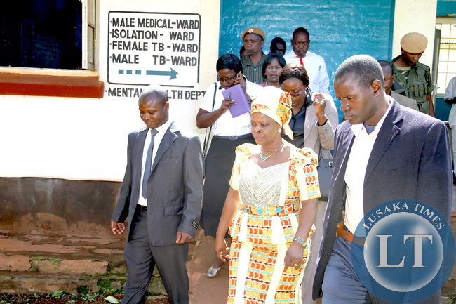 First Lady Esther Lungu during tour of Mbala General Hospital on March 2,2015 -Picture by THOMAS NSAMA