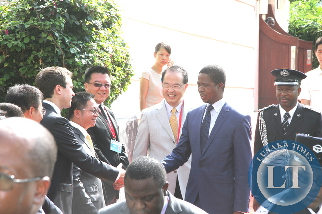 President Lungu greets Chinese government officials at GMG Grand Hotel shortly before his departure for Beijing on a state visit on March 29,2015 -Pictures by THOMAS NSAMA