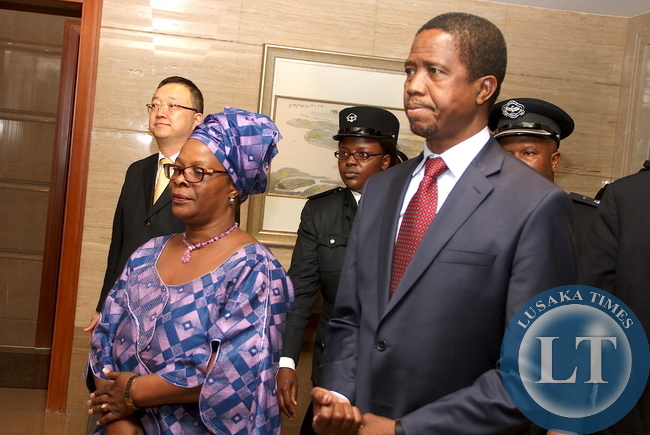 President Edgar Lungu with First Lady Esther Lungu arrives at Hong Qiao State Guest House in Shanghai, China on March 26,2015. The President is in China on a State Visit and will also address the BOAO forum slated for March 26 to 29,2015 in Hainan Province of China -Pictures by THOMAS NSAMA