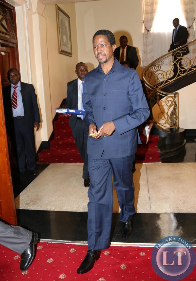 President Lungu arrive at Cabinnet  meeting
