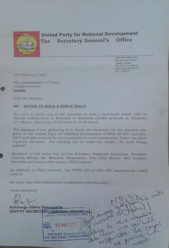 UPND Rally letter2