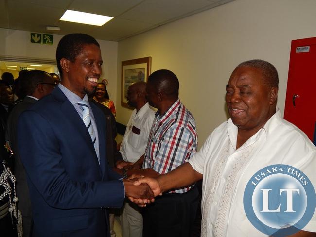 President Lungu meets former president, Mr. Rupiah Banda when the two met at Milpark Hospital in Johannesburg