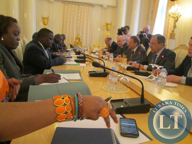 Foreign Minister Harry Kalaba with Russian Foreign Minister Sergey Lavrov